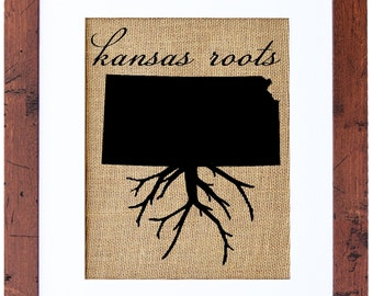 Kansas Roots, Burlap Wall Art, Custom state roots, personalized burlap, screen print, Fiber and Water