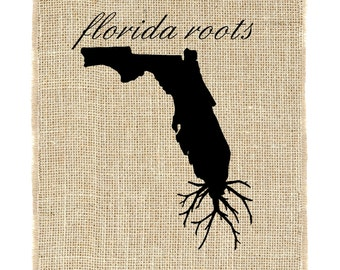 Florida Roots Unframed, Florida Wall Art, Burlap Art, Custom Wall Art, Know your roots, Custom State Outline