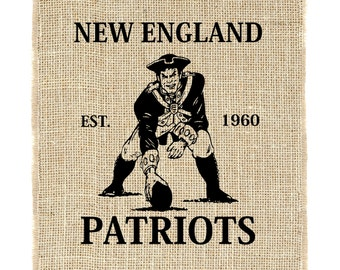 New England Patriots Unframed, Football, Patriots Art, Burlap Wall Decor, Burlap Wall Art