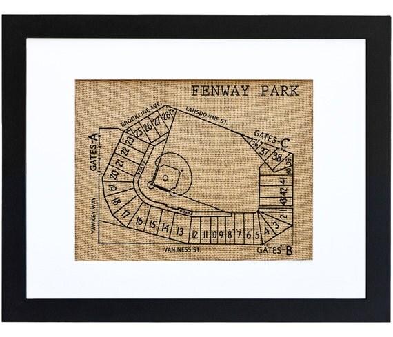 Fenway Park Red Sox Baseball Art Vintage Art Burlap Frame