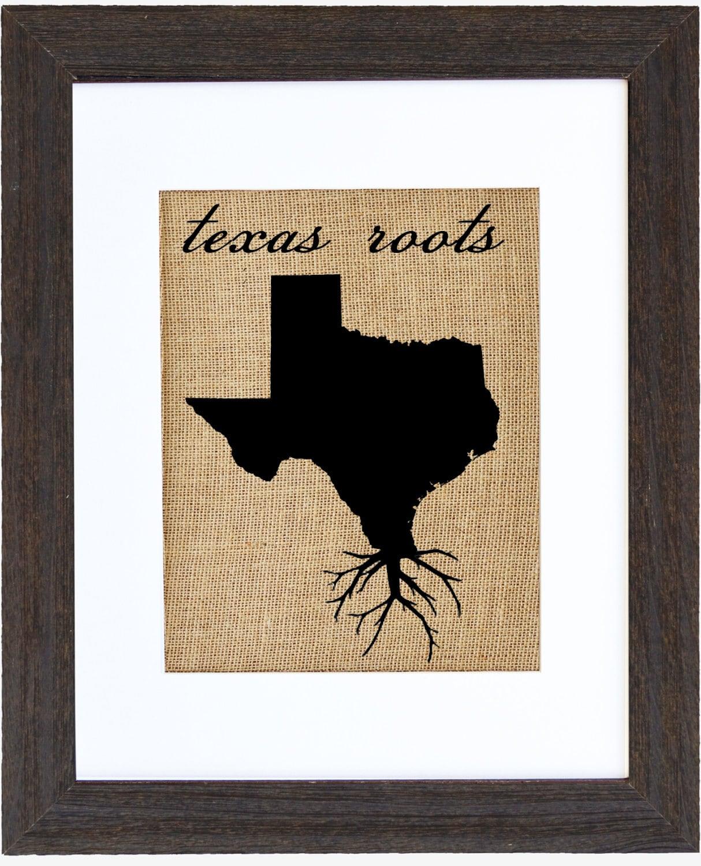 Texas Roots Wall Art Burlap Print Custom Wall Art Know Your