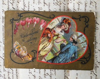 2 Vintage Valentine's Day Postcards, Gold and Embossed, Hearts