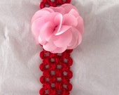 Red Headband with Pink Flower- Newborn
