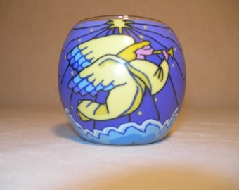 fimo glass votive candle holder (Guardian Angel)