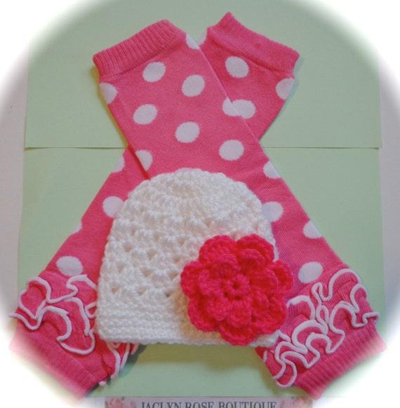 Crochet Baby Hat White With Coral Pink Flower Newborn 0-3 6 9