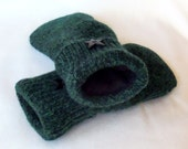 Felted Sweater Mittens - Dark Teal/Black - Felted Wool Mittens - Wool Mittens - Womans - Medium