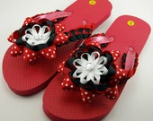 Minnie Mouse Inspired Flip Flops- Adult S (Size 5 to 6.5)