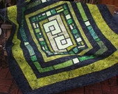 Lap Quilt, Sofa Quilt, Quilted Throw - Green Stained Glass Batik Lap Quilt