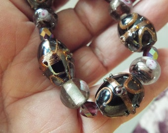 black venetian glass bracelet wedding cake beads lampwork