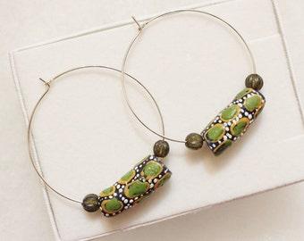 African Bead Earrings, Beaded Hoop Earrings, Sterling Silver Hoop Earrings, Gifts Under 20