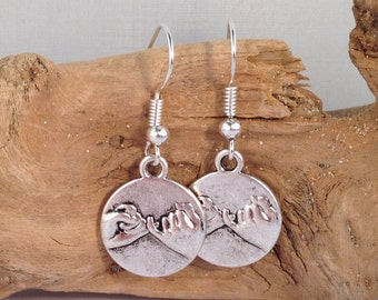 PINKY PROMISE EARRINGS Tibetan Style Silver Tone Charms on Nickelfree Hooks