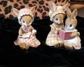 Adorable Lefton Porcelain Bisque Bunny Figurines
