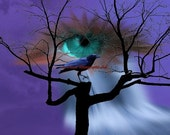 Surreal Weeping Spirit Eye overlooking Crow on Tree Matted Picture Fantasy Photograph A405 Blue Purple lilac black white waterfall