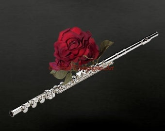 Musical Photography Original Black and White Flute with Red Rose Matted Picture Art Print A714