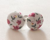 fabric floral silver cufflinks cuff links flowers groom present unique mens cufflinks gift idea for men vintage inspired