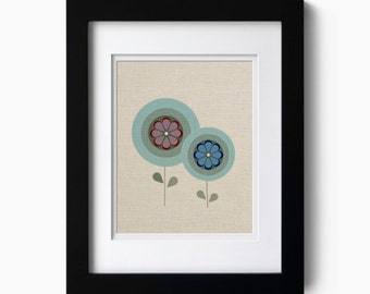 Two abstract flowers on faux linen art print - Giclee Art Print