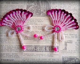 Victorian Fan Beaded Sequin Applique, Fuchsia , x 2, For Apparel, Accessories, Costumes, Mixed Media, Romantic & Victorian Crafts