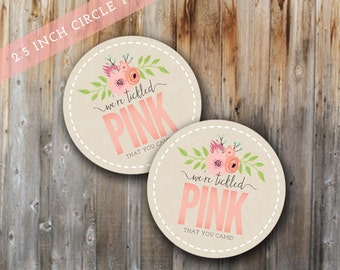Printable Tickled Pink Toppers and Tags, INSTANT DOWNLOAD