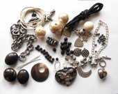 Black Silver Pearl Beads Connectors Jewellery Destash Kit