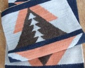 Long Wool Geometric Pattern Rug or Wall Hanging in Navy, Light Blue, Grey and Peach