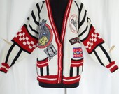 90s motorcycle Easy Rider theme novelty cardigan in the varsity style/ red white black/ A'Milano brand/ unisex: size M