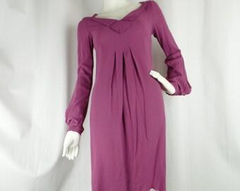 Vintage Byblos plum colored stretch schoolgirl style dress/ flirty unfinished hem: size USA 6