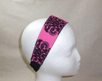 Pretty Hot Pink and Black Damask Fabric Headband