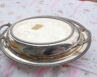 Silver Butter Dish Very Ornate,Fancy Butter Dish, Silver Butter Dish, Fancy Table, Vintage Dishes, Vintage Kitchen :)S