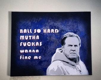 NO DAYS OFF - Bill Belichick - Stencil Spray Painting - Ball So Hard - Deflategate New England Patriots Graffiti Art Jay Z Kanye