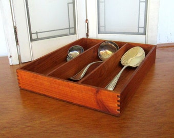 Vintage Wooden Box Organizer for Kitchen or Office Caddy Rustic Chestnut Color Wood