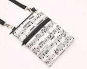 Cell Phone Bag, Samsung Galaxy S4 Crossbody, iPhone 6 Zipper Sling Bag, Smartphone Purse, Mini CrossBody Bag - music notes black white cream