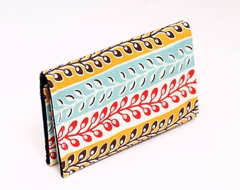 Business card case, small wallet, business card wallet, gift card case for women - yellow, aqua, coral red stripes