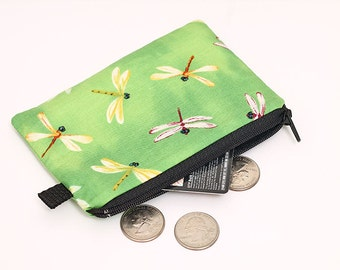 Change wallet, green zipper pouch, small padded coin purse, green fabric travel wallet, womens mini makeup bag - white dragonflies in green