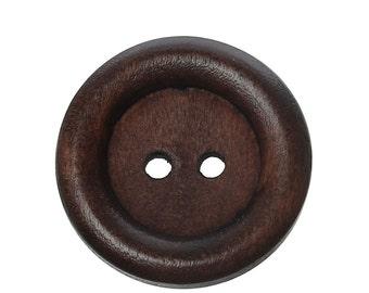 Dark Brown Wooden Buttons - 20mm -  2 hole - Wood Button (60134)