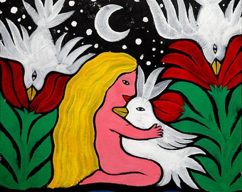Girl and Birds. Large Original Art Painting, Acrylic on Canvas.