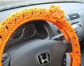 Crochet Steering Wheel Cover, Wheel Cozy  with a Flower - pumpkin (CSWC 2RRR-F)