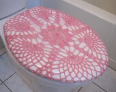 Crochet Toilet Seat Cover or Crochet Toilet Tank Lid Cover - pink (TSC9K or TTL9K)
