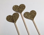 12+ Heart (Gold Glitter) Cupcake Toppers/Food Picks/Party Supplies No.338