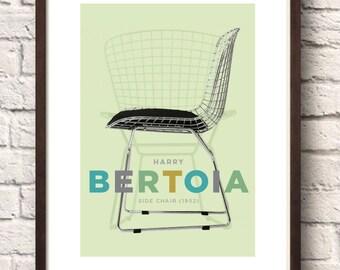Wall Art, Home Décor, Harry Bertoia Wire chair, Mid Century Modern, Retro Poster, Chair Print, Modern art poster, Mid century furniture