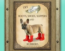 """Shoe Advertisement Creation of Cute Black Mask Fawn French Bulldog Puppy Giclee Print Wall Pop Art FRAMED with Mat titled """"Kinky Boots"""""""