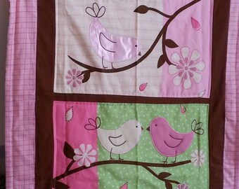"baby girl pink and green flannel quilt with birds and flowers 39""x 33"""