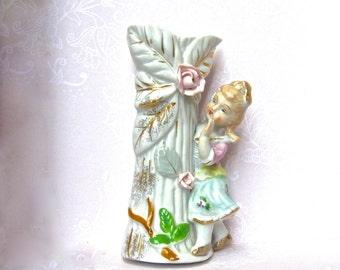 Porcelain Flower Vase, Pink Roses, Child Figurine, Small Rose Design Vintage Vase, Porcelain Figurine