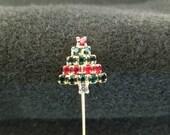 Vintage Christmas Pin, Christmas Tree with Rhinestones and Gold Tone Base