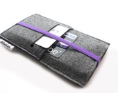 iPhone 6 Sleeve/ iPhone 6S Sleeve/ iPhone 6s Plus Case/ iPhone 4/4S/5/5S/5C Sleeve/ Samsung/ Nexus-Elastic- Charcoal Grey & Royal Purple