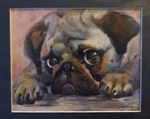 Original Watercolor Pug Portrait 9x12 inch Painting with Mat