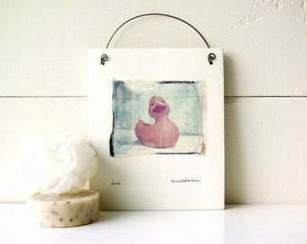 Duck.  Rubber Duck.  Polaroid Image Transfer Printed on Fired Ceramic Clay.  Emulsion Lift.