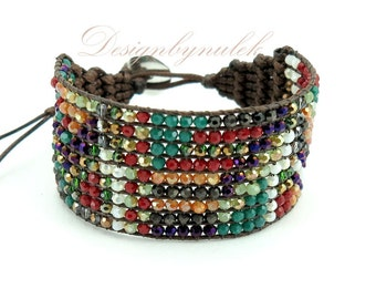 Multi color stone wrap bracelet.