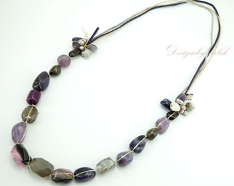 Long necklace Amethyst and freshwater pearl.