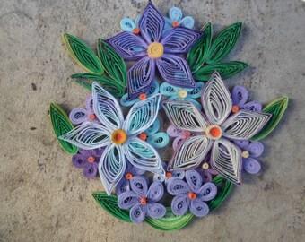 Spring flowers wall art Quilling art Paper flowers Original unique wall art Blue purple green spring decoration
