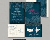 Destination wedding invitation USA India wedding Indian Style Wedding Invitation RSVP Navy Fuchsia Henna Paisley bilingual wedding invites